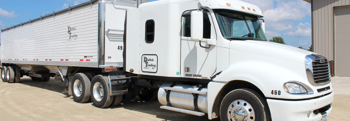 White Semi Tractor and Trailer from Dubbels Trucking, Inc.